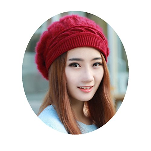 Knitted Beret Hat with Inner Velvet Super Warm Solid Color Caps Cute Bowler Hat for Woman Girls (Red)