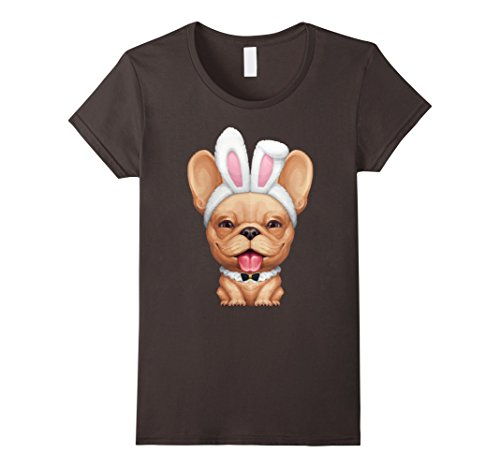 [Women's Smiling French Bulldog in the Easter Bunny Costume T-Shirt Small Asphalt] (Frenchy Pink Ladies Costume)