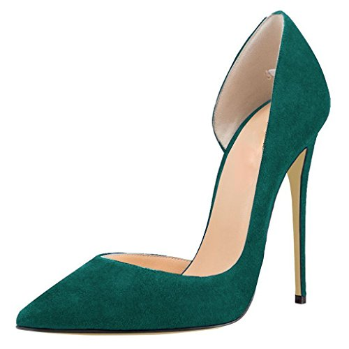 Calaier Slip on Women Stiletto Pointed 12CM Green Shoes Court Caprize Toe YYx0rX