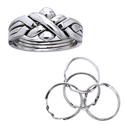Sterling Silver Puzzle Ring - Sterling Silver Four Band X Weave Puzzle Ring Size 7(Sizes 5,6,7,8,9,10,11,12,13,14)