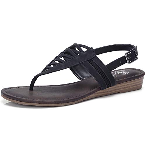 CAMEL CROWN Women's T-Straps Sandals Thong Sandals with Low Wedge Casual Flat Sandals with Slingback Comfortable Shoes Black