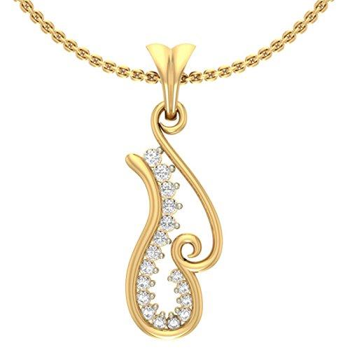 14K Or jaune 0.23CT TW Round-cut-diamond (IJ   SI) diamant Pendentif