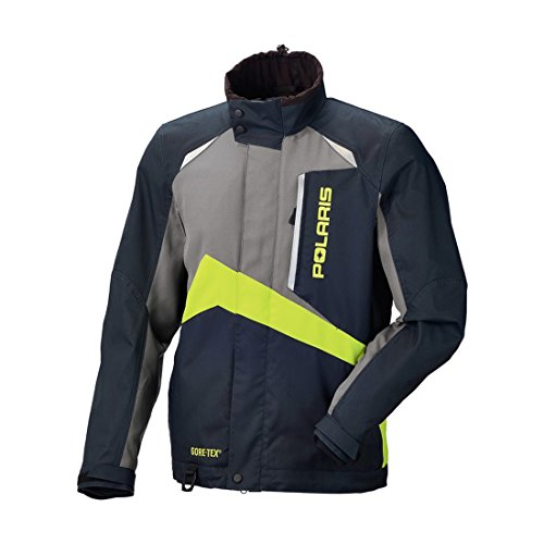 Men's Polaris Gore-TEX Pro Black, Grey and Lime Snowmobile Jacket (2X-Large)