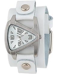 Nemesis Womens WGB024S Small Triangle White on White Leather Cuff Quartz Watch