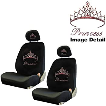 Pink Princess W Cute Crown Gem Crystal Studded Rhinestone Bling Car Truck SUV Front Low Back Bucket Seat Covers With Head Rest Pairs