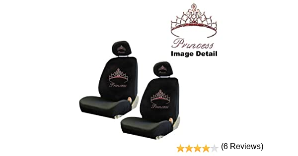 Amazon Pink Princess W Cute Crown Gem Crystal Studded Rhinestone Bling Car Truck SUV Front Low Back Bucket Seat Covers With Head Rest Pairs