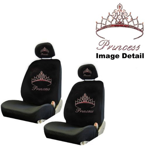 Pink Princess w/ Cute Crown Gem Crystal Studded Rhinestone Bling Car Truck SUV Front Low Back Bucket Seat Covers with Head Rest Pairs - 4PCS (Princess Seat Covers)