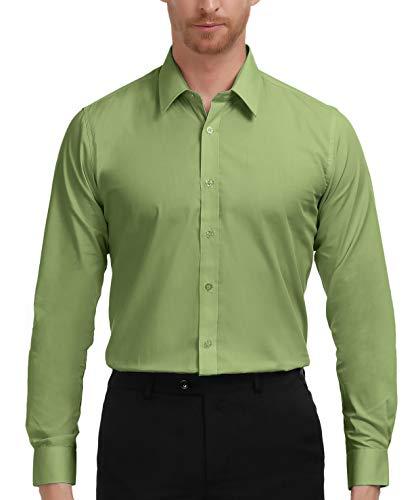 PAUL JONES Men's Regular Fit Solid Long Sleeve Dress Shirt, Apple Green