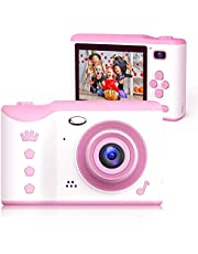 Bright Platinum Kids Camera, 8MP Digital Dual Camera Rechargeable Shockproof Camcorder Camera With 2.8 Inch Touch Screen and 32GB SD Card (Pink)