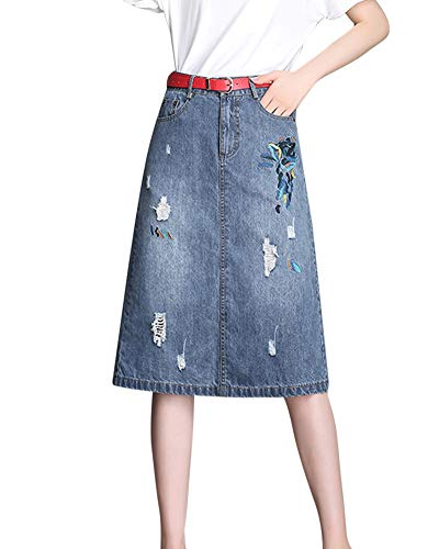 Jupe Midi Femme Mode Casual Grande Taille Broderie Jupe en Jean A-Line Jupe Bleu Clair