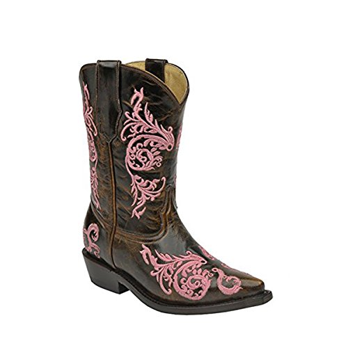 CORRAL Kids' Cognac Pink Dahlia Embroidered Snip Toe Cowboy Boots G1243 (11.5 D(K) US) ()