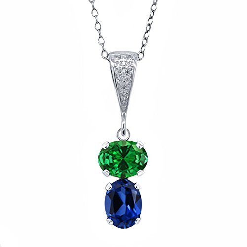 - Gem Stone King 3.77 Ct Green Simulated Emerald Blue Simulated Sapphire 925 Sterling Silver Pendant