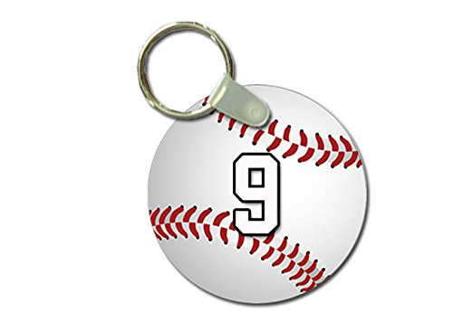 (TYD Designs Key Chain Sports Baseball Customizable 2 Inch Metal and Fully Assembled Ring with Any Team Jersey Player Number 9)