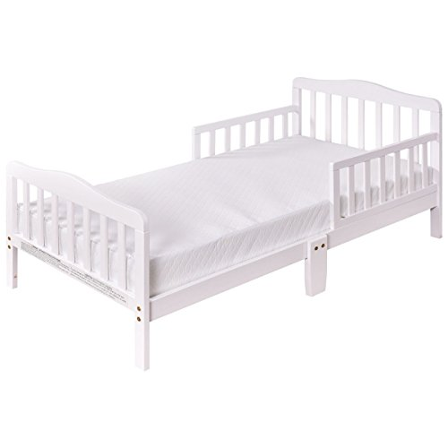 - Baby Toddler Wooden Bed with Safety Rails (White)