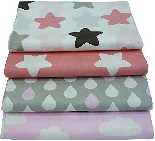 4 piezas 40cm * 50cm Tela de algodón impresa con estrellas y nubes para patchwork,telas para hacer patchwork, telas tilda, retales de telas, tela algodon por metros: Amazon.es: Hogar