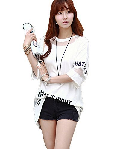 Leiwo-Womens-Lady-Summer-Korean-Short-Sleeve-Lace-Loose-Splice-Thin-T-Shirt