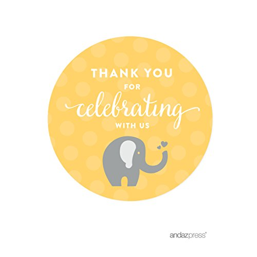 Andaz Press Yellow Gray Gender Neutral Elephant Baby Shower Collection, Round Circle Gift Label Stickers, Thank You for Celebrating with Us!, 40-Pack, For Party Favors (Mason Jar Party Favors compare prices)