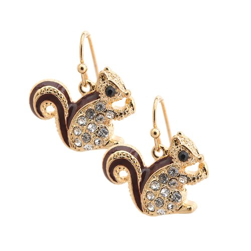 Spinningdaisy Cute Little Brown Tail Squirrel Earrings (Gold Plated)