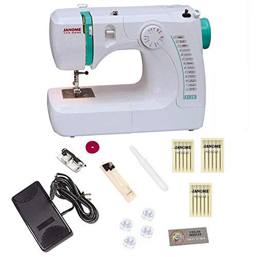 Janome 3128 Sewing Machine Bundle with 3 Packs of Size 12 Ne