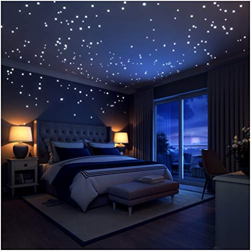 Kids Room Ceiling Light - Glow In The Dark Stars Wall Stickers,252 Adhesive Dots and Moon for Starry Sky, Decor For Kids Bedroom or Birthday Gift,Beautiful Wall Decals for any Room by LIDERSTAR,Bright and Realistic.