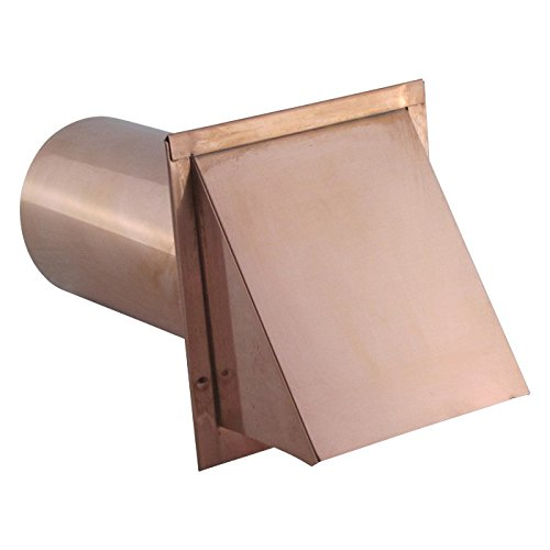 Hooded Wall Vent with Screen and Damper - Copper 4 inch by Famco