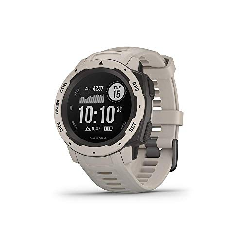 "Garmin 010-02064-01 Instinct, Rugged Outdoor Watch with GPS, Features GLONASS and Galileo, Heart Rate Monitoring and 3-axis Compass, Tundra, 1.27"" (Certified Refurbished)"