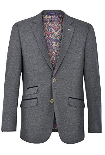 JAMES MORGAN Men's Fully Lined Solid Fit Blazer, Light Grey, 38