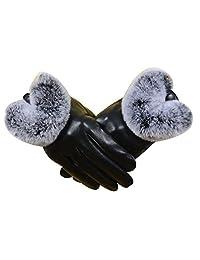 Ms Warm Genuine Leather Gloves Plus Velvet Touch Screen Sheepskin Rex Burr,1