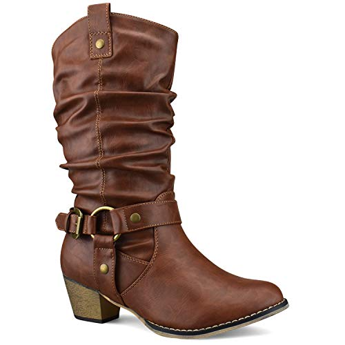 Premier Standard - Women's Western Cowboy Pointed Toe Knee High Pull On Tabs Boots, TPS Boots-20Dliw Tan Size 8.5