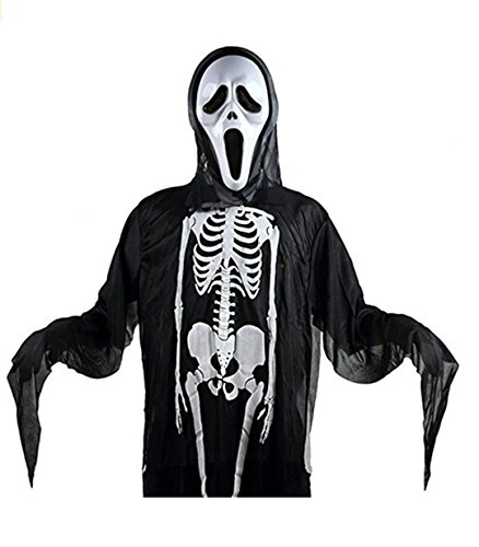For Adults Costumes Scream (Halloween Scream Costume Skeleton Ghost Skull Ghost with Mask for Adult Party)