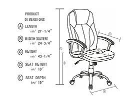 Anji High Back Big and Tall Tilt Executive Leather Office Desk Chair, Brown