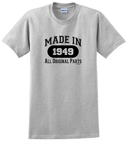 (70th Birthday Gifts for Dad 70th Birthday Gift Made 1949 All Original Parts T-Shirt XL Ash)