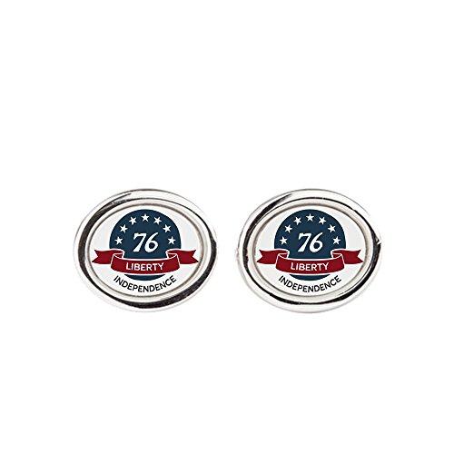 (Cufflinks (Oval) Vintage America Blue Circle 76)