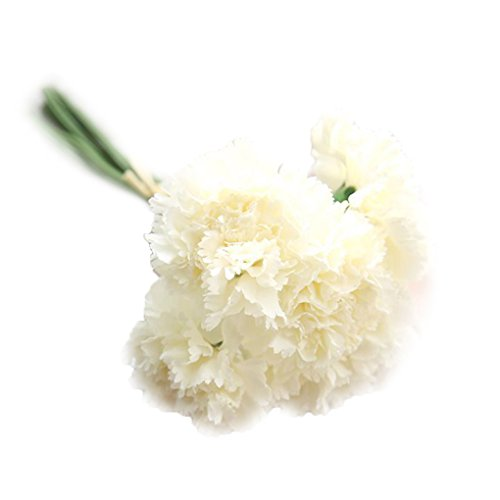 (RBwinner Artificial Silk Flower Carnation 6 Heads/Bouquet for Wedding Party Home Decoration(milk white))