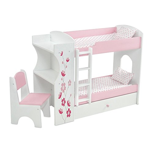 18 Inch Doll Bed Furniture | Pink and White Bunk Bed & Desk Combo with Flower Print, Includes Plush Pink and White Polka Dot Bedding | Fits American Girl Dolls