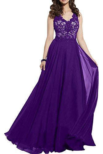 Damen Brautmutterkleider Festliche Abendkleider Damen Elegant Kleider Spitze Lila Chiffon Royal Blau Charmant xTzqBwaz