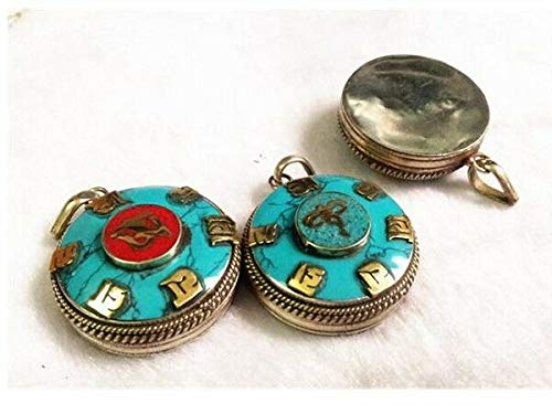Delicate Tibetan Turquoise Coral Inlay Golden OM Mantra OM Mani Ghau Box Pendant #ID-185