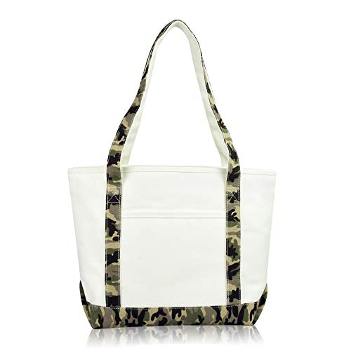 (DALIX Daily Shoulder Tote Bag Premium Cotton in Green Camouflage )