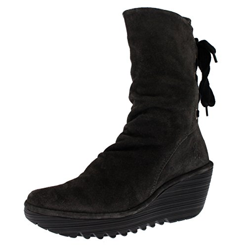 FLY London Womens Yada Winter Suede Wedge Heels Diesel Mid Calf Boots - Diesel - 10