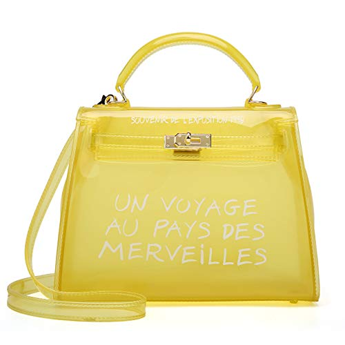 Poxas Top-handle PVC Women Shoulder Bags Jelly Candy Color Women Crossbody Bag (Small, Yellow)