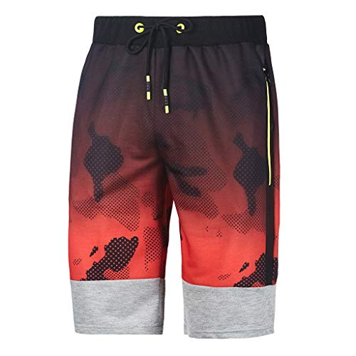 Shybuy Men's Spring and Summer Fitness Camouflage Patchwork Bodybuilding Shorts Quick-Drying (L2, Red) by Shybuy (Image #1)
