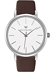 WRISTOLOGY Olivia Womens Lines Silver Boyfriend Watch Brown Leather Band
