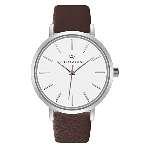 WRISTOLOGY Olivia Womens Silver Lines Wrist Watch Brown Leather Band