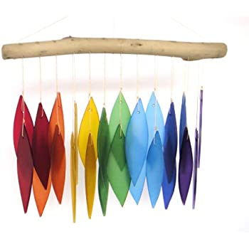 Blue Handworks Glass Wind Chime, Over The Rainbow