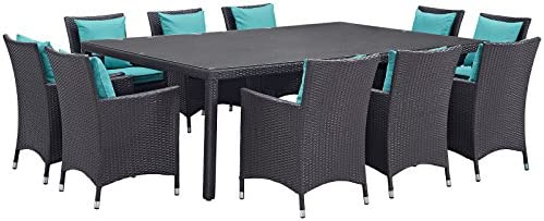 Modway Convene Collection 11-Piece Outdoor Patio Dining Set
