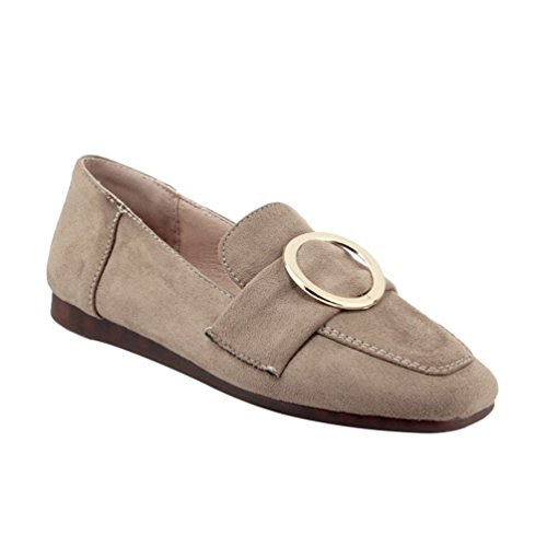 YOUJIA Womens Metal Slip On Close-Toe Pumps Dolly Flat Faux Suede Office Work Driving Shoes Beige evbksv2