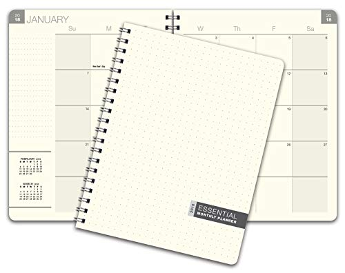 Essential 8.5x11 Monthly 2019 Planner - 14 Months (November 2018 Through December 31, 2018) - Professional, Simple, Easy-to-Use Design. Frosted Vinyl Covers for Extra Protection.