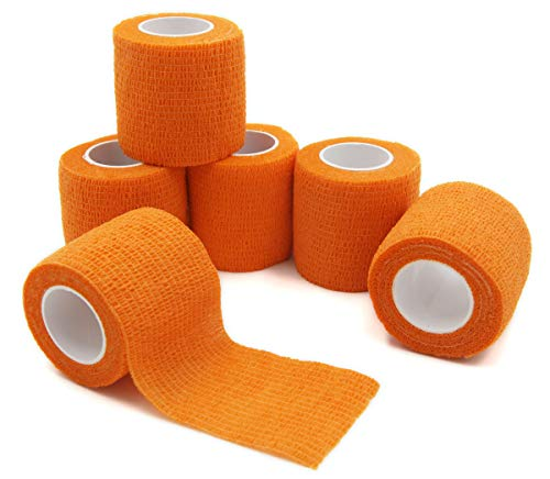 - First Aid Self Adherent Cohesive Bandages, First Aid Tape Cohesive Wrap Bandage, Colorful Bandages(2 inches x 5 Yards,6 Packs,Orange)