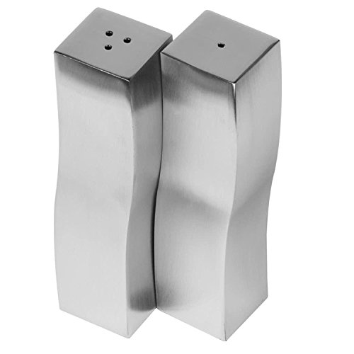 Modern Salt and Pepper Shakers Stainless Steel 4 .oz (Set of 2) Wavy Shape by Culinary Depot