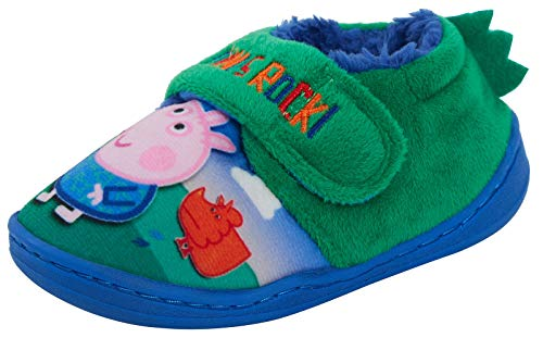 (Boys Peppa Pig George Pig 3D Slippers UK 5 Green)